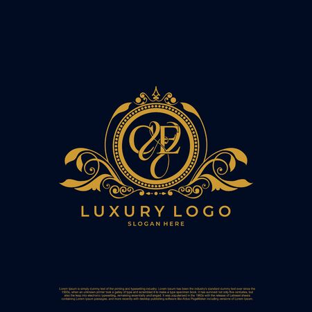 Logo Initial letter CE luxury vector mark, gold color elegant classical symmetric curves decor.