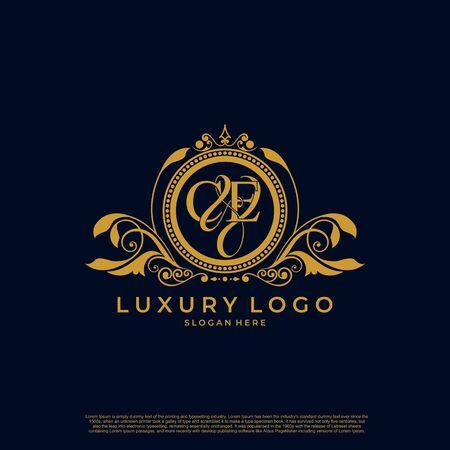 Logo Lettre initiale CE marque vectorielle de luxe, décor élégant de courbes symétriques classiques de couleur or.