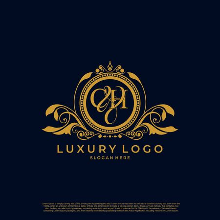 Logo Initial letter CH luxury vector mark, gold color elegant classical symmetric curves decor.