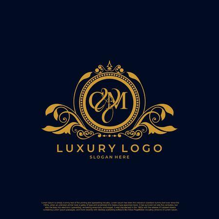 Logo Initial letter CM luxury vector mark, gold color elegant classical symmetric curves decor.