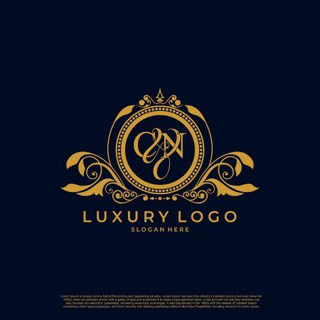 Logo Initial letter CN luxury vector mark, gold color elegant classical symmetric curves decor.