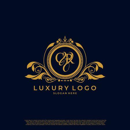 Logo Initial letter CR luxury vector mark, gold color elegant classical symmetric curves decor. Logó