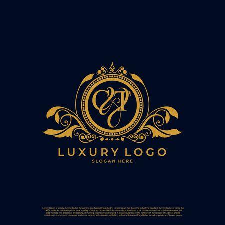 Logo Initial letter CT luxury vector mark, gold color elegant classical symmetric curves decor.