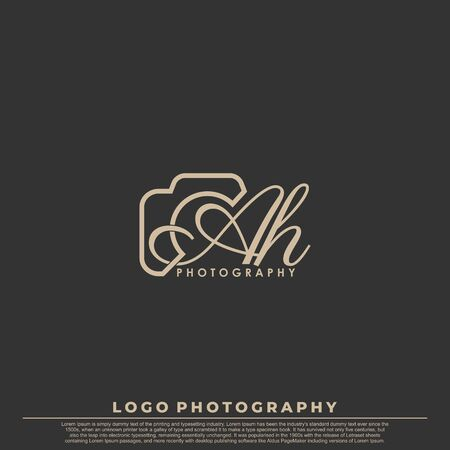 Initial Letter AH with camera. Logo photography simple luxury vector.