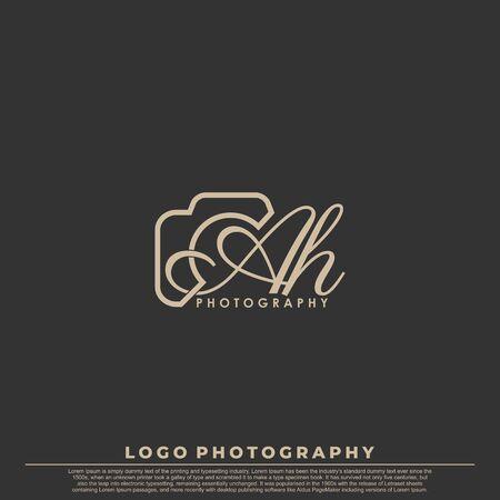 Letra inicial AH con cámara. Vector de lujo simple de fotografía de logotipo.