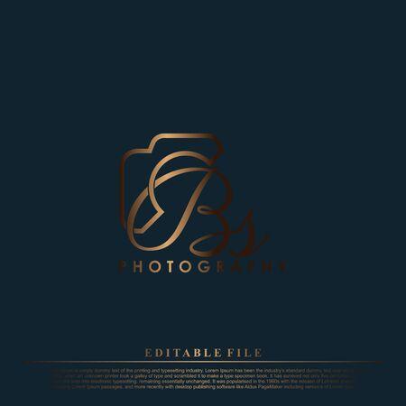 Letra inicial BS con cámara. Vector de lujo simple de fotografía de logotipo. Logos