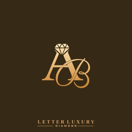 Initial Letter Luxury AB with diamond. Diamond Icon in Flat Style Logo.