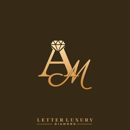 Initial Letter Luxury AM with diamond. Diamond Icon in Flat Style Logo.