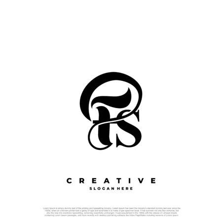 Logo Text Initial Letter FS Luxury Monogram. overlapping interlock logo, monogram line art style.