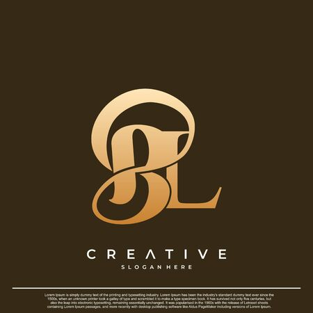 Logo Text Initial Letter BL Luxury Monogram. overlapping interlock logo, monogram line art style. Logó