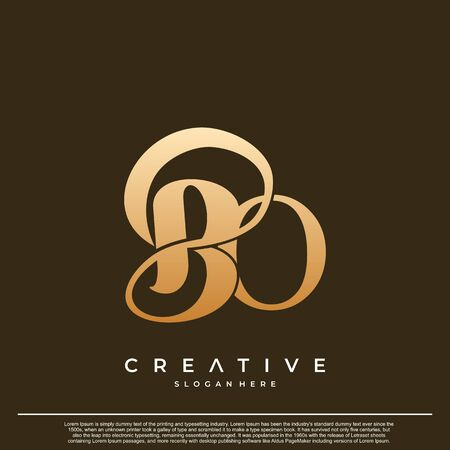 Logo Text Initial Letter BO Luxury Monogram. overlapping interlock logo, monogram line art style. Çizim
