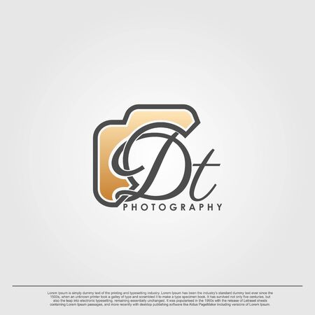 Initial Letter DT with camera. Logo photography simple luxury vector.