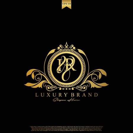 I & R IR logo initial Luxury ornament emblem. Initial luxury art vector mark logo, gold color on black background.