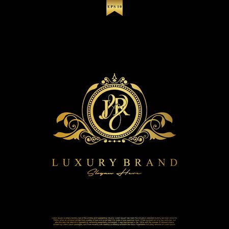 J & R JR logo initial Luxury ornament emblem. Initial luxury art vector mark logo, gold color on black background.