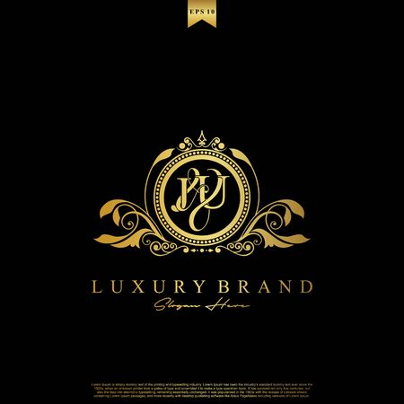 J & U JU logo initial Luxury ornament emblem. Initial luxury art vector mark logo, gold color on black background.