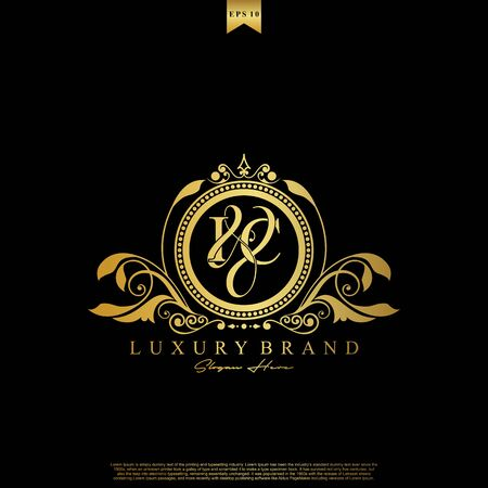 I & C IC logo initial Luxury ornament emblem. Initial luxury art vector mark logo, gold color on black background.