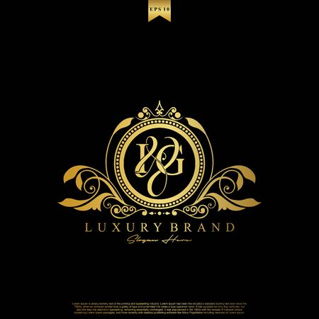 I & G IG logo initial Luxury ornament emblem. Initial luxury art vector mark logo, gold color on black background.