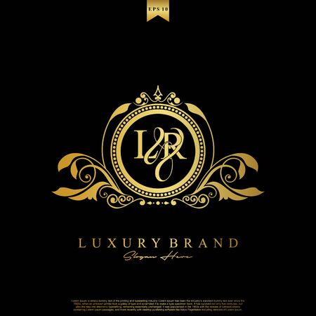 Logo Initial letter LR luxury vector mark, gold color elegant classical symmetric curves decor.