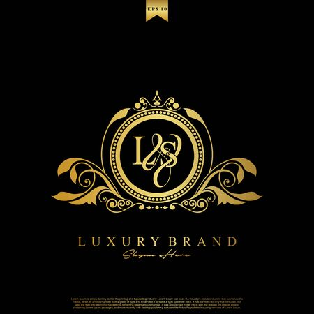 Logo Initial letter LS luxury vector mark, gold color elegant classical symmetric curves decor.
