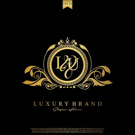 Logo Initial letter LU luxury vector mark, gold color elegant classical symmetric curves decor.
