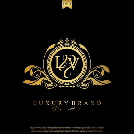 Logo Initial letter LV luxury vector mark, gold color elegant classical symmetric curves decor.