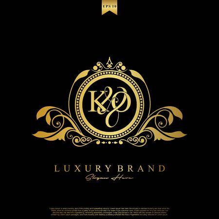 Logo Initial letter KO luxury vector mark, gold color elegant classical symmetric curves decor.