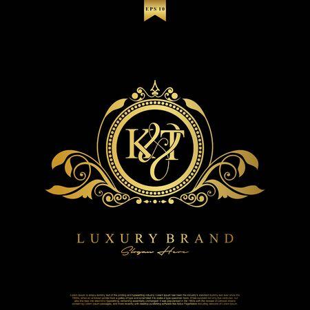 Logo Initial letter KT luxury vector mark, gold color elegant classical symmetric curves decor.