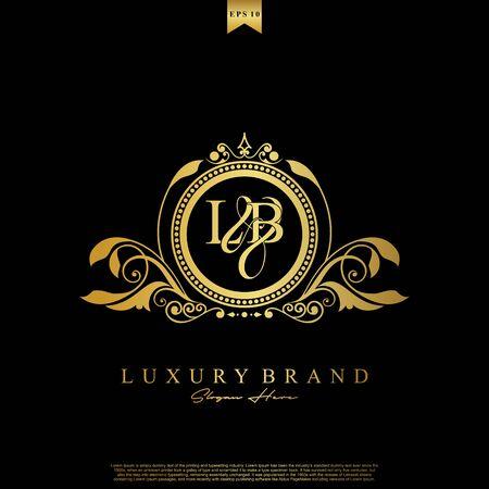 Logo Initial letter LB luxury vector mark, gold color elegant classical symmetric curves decor. Logo