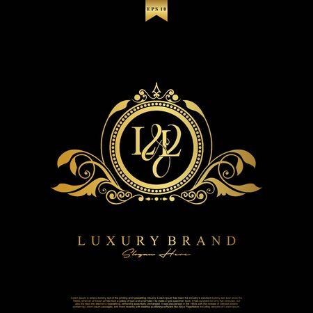 Logo Initial letter LL luxury vector mark, gold color elegant classical symmetric curves decor.