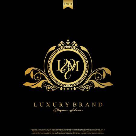 Logo Initial letter LM luxury vector mark, gold color elegant classical symmetric curves decor.