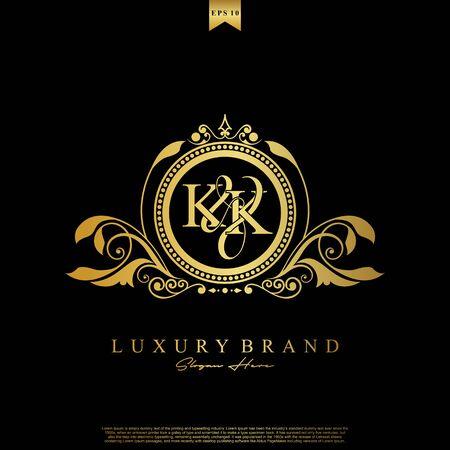 Logo Initial letter KK luxury vector mark, gold color elegant classical symmetric curves decor.