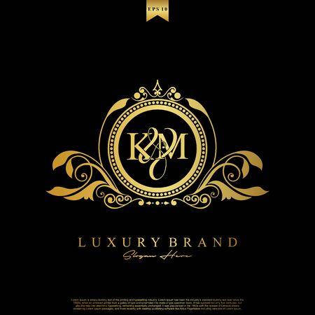 Logo Initial letter KM luxury vector mark, gold color elegant classical symmetric curves decor. Logó