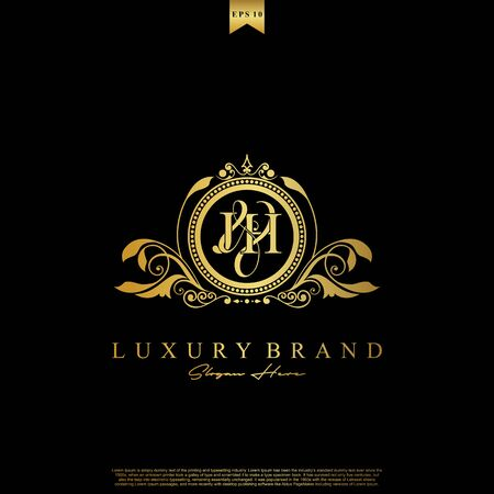 J & H JH logo initial Luxury ornament emblem. Initial luxury art vector mark logo, gold color on black background.