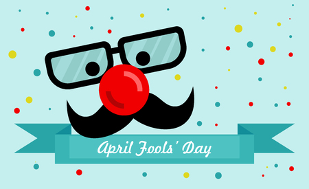 April Fools Day text and funny glasses and a red nose vector illustration for greeting card, ad, promotion, poster, flier, blog, article, marketing, signage, email. Illustration
