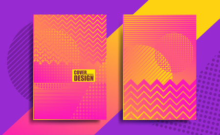 Covers with geometric pattern, bright gradient, yellow and pink color, stripes.
