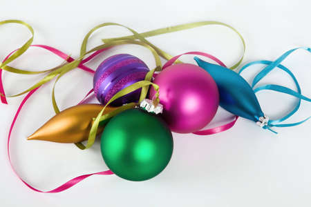 Five different christmas ornaments on white background Stock Photo - 5794805