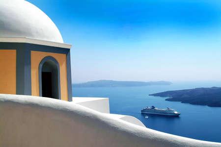 santorini greece: Cruiseship, sea and greek architecture in Santorini Greece