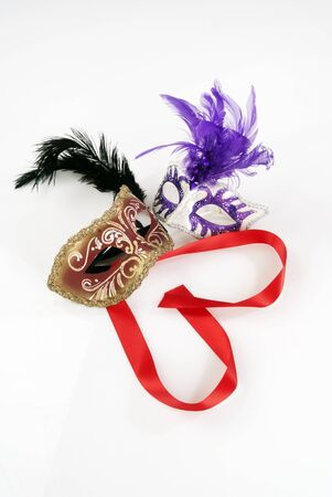 masquerade masks: masquerade masks against white with red heart
