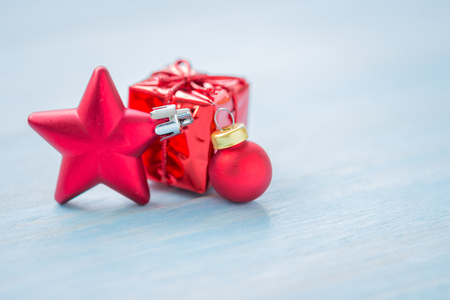 Christmas and Happy New Year holidays background with decoration items, selective focus Standard-Bild - 91697455