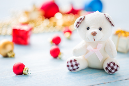 Christmas and Happy New Year holidays background with decoration items, selective focus Standard-Bild - 91314486