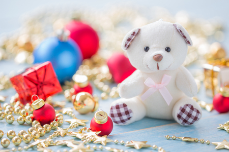 Christmas and Happy New Year holidays background with decoration items, selective focus