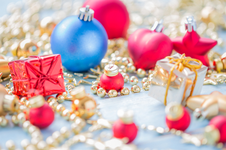 Christmas and Happy New Year holidays background with decoration items, selective focus Standard-Bild - 91271211