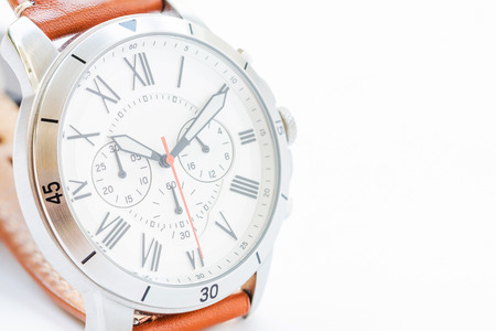 Close up of men's accessories with vintage watch on white background with space for text