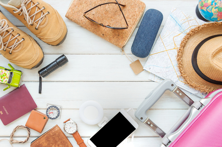 Overhead top view, flat lay, Men's accessories and essential travel items with space on white wooden board background Standard-Bild - 94754722