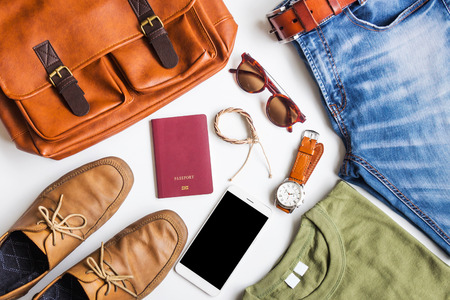 Men's casual outfits with travel items accessories on white background, lifestyle holiday traveler concept, flat lay fashion and beauty Standard-Bild - 99901808