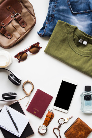 Men's casual outfits with accessories items on white background, lifestyle holiday traveler concept, flat lay fashion and beauty
