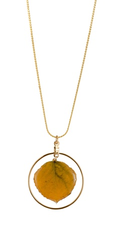 aspen leaf: Real Aspen leaf necklace preserved in resin
