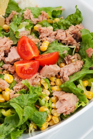 Salat wit veal meat and lettuce