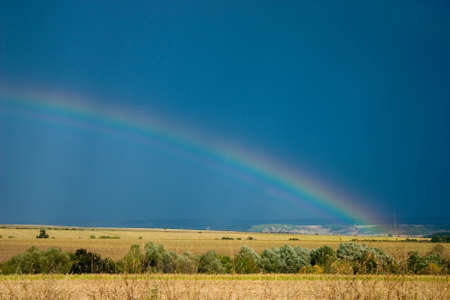 Photograph of a rainbow over agriculture field photo