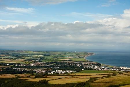 High mountain view to town of Ramsey  Image taken on Island Of Man
